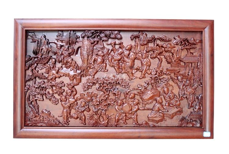 Dongyang bois sculpture plaque suspendus boutique croix écran pendentif chinois classique fond 100 graphique partition
