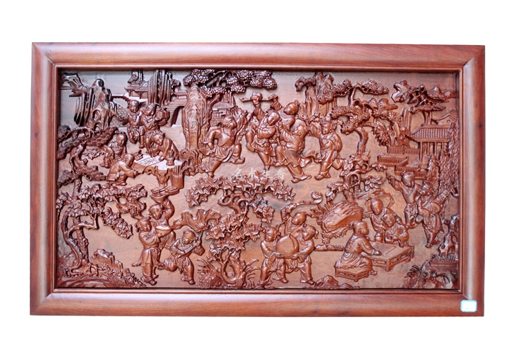 Dongyang wood carving plaque hanging boutique cross screen pendant Chinese classical background 100 graph partition bichot charles edmond graph partitioning