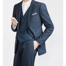 цена на Custom Made Dark Blue Men Suit For Wedding Bespoke Dark Blue Men Slim Fit Suits Tailor Made Dark Blue Mens Suits With Pants
