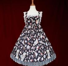 The new spring and summer Lolita blouse chiffon printing of tall waist JSK dress Alice