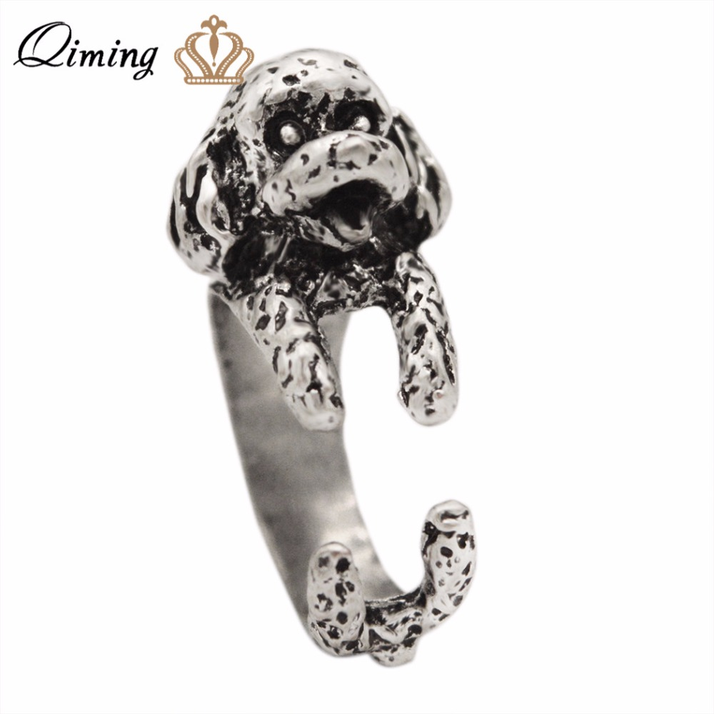 QIMING 2017 New Fashion Antique Silver Ring Cute Dog Toy 3D Poodle Shaped Animal Dog Rings For Women Girl Men Jewelry Gift