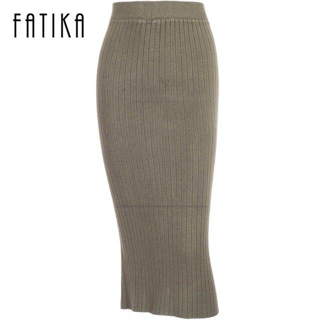 Fatika Для женщин S толстые теплые юбка-карандаш осень-зима 2017 вязаная юбка Высокая Талия сзади Разделение тонкий стрейч Для женщин длинные Юбки для женщин