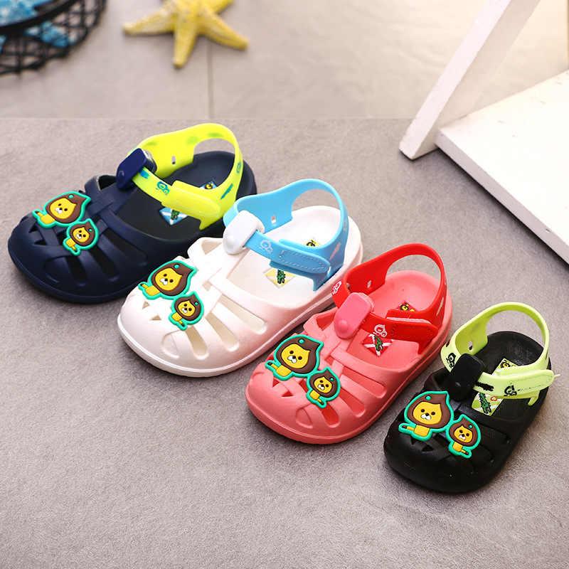 2019 летние сандалии для маленьких девочек и мальчиков Мягкая Детская картонная сандалии с изображением Льва детская обувь пляжные сандалии для девочек прозрачная обувь для девочек