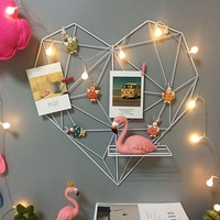 Nordic Pastoral Iron Geometric Love Shape Pink Shelf Photos Wall Hanging Shelves Mounted Home Girl Room Decoration Accessories