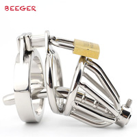 BEEGER New small male chastity cage metal Cock Ring , Stainless Steel Chastity Cage with Urethral Insert