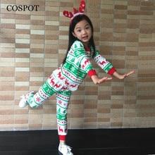 COSPOT Baby Boys Girls Christmas Pajamas Girl Reindeer Clothing Set Kids Christmas Nightwear Cotton Pj's Pajamas 2017 New 30C