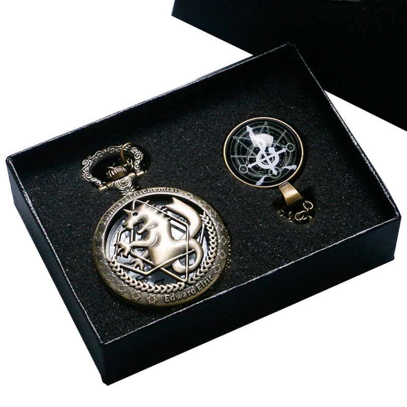1 Set Fullmetal Alchemist Bronze Hollow Edward Pocket Watch With Snake Cross Theme Glass Dome Pendant Cosplay Best Gift antique fullmetal alchemist full metal case bronze pocket watch with chian necklace christmas