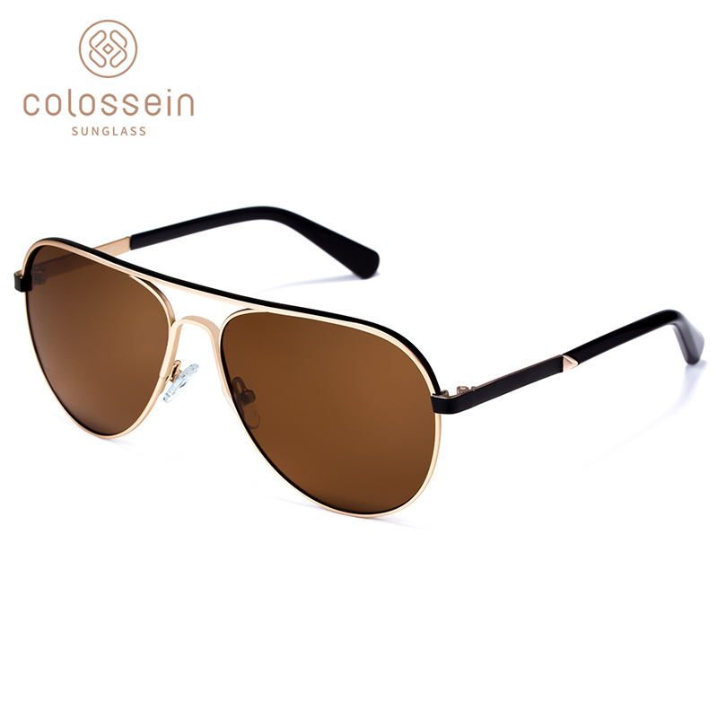 COLOSSEIN lunettes de soleil pilote hommes Vintage classique marron conduite adulte lunettes de soleil de luxe 2019 lunettes de mode de pêche UV400