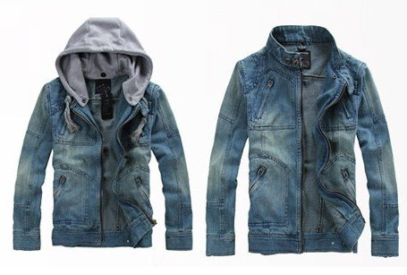 Men's Hoodie Jeans Jacket coat outerwear hooded Winter coat hoodie denim jacket coat cowboy wear M -XXL JK47