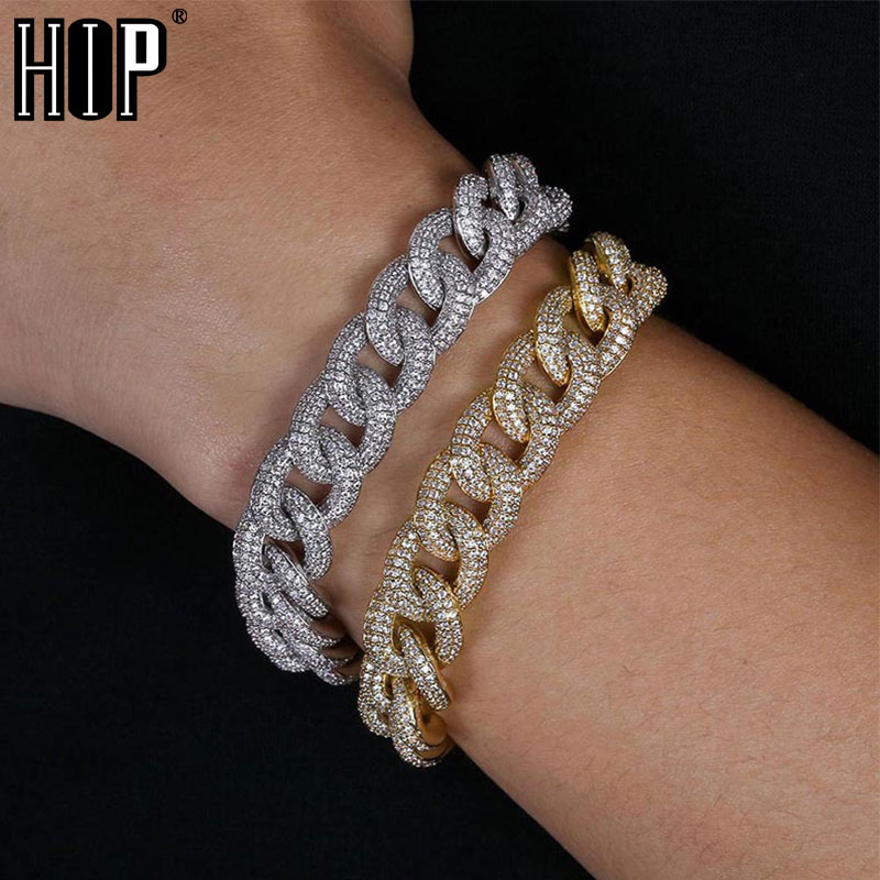 Hip Hop Full AAA Crystal Cubic Zirconia Miami Curb Bling Iced Out Pave Mens Cuban Bracelet Chain Bracelets for Men JewelryHip Hop Full AAA Crystal Cubic Zirconia Miami Curb Bling Iced Out Pave Mens Cuban Bracelet Chain Bracelets for Men Jewelry