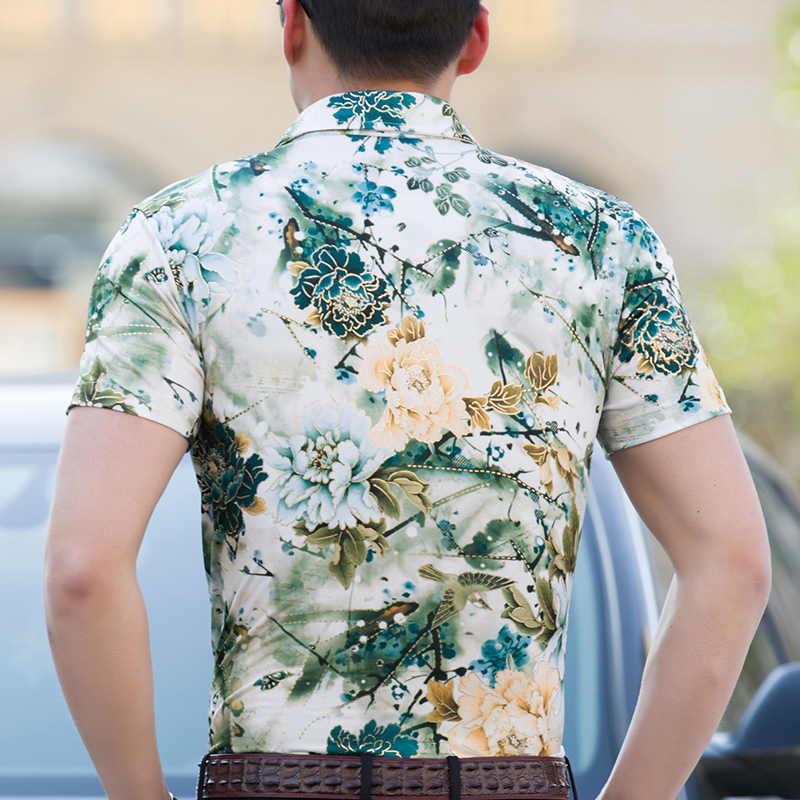 19 цветов Новая Модная шелковая мужская гавайская рубашка с коротким рукавом летние повседневные рубашки с цветочным принтом мужские большие размеры 3XL 4XL 5XL 6XL 7XL 5z