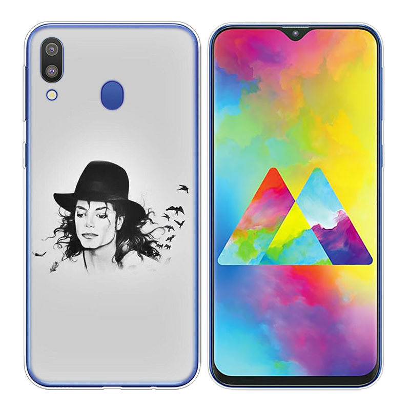 Transparent Soft Silicone Phone Case michael jackson for Samsung Galaxy S10 S10e S10 Plus S10 M10 M20 Cover in Fitted Cases from Cellphones Telecommunications