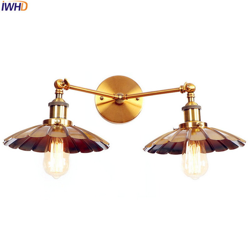 купить IWHD Antique Golden Vintage Wall Lamp 2 Heads Edison LED Stair Light American Loft Industrial Wall Lights Fixtures Arandela по цене 4516.39 рублей