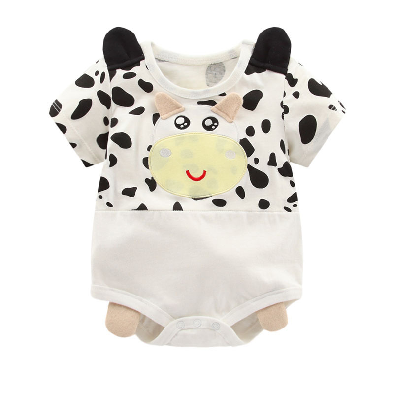 2018 new summer Baby clothes lovely Panda milk Cow Newborn rompers lbaby boy girls Body suit short sleeve Cotton Infant Clothes