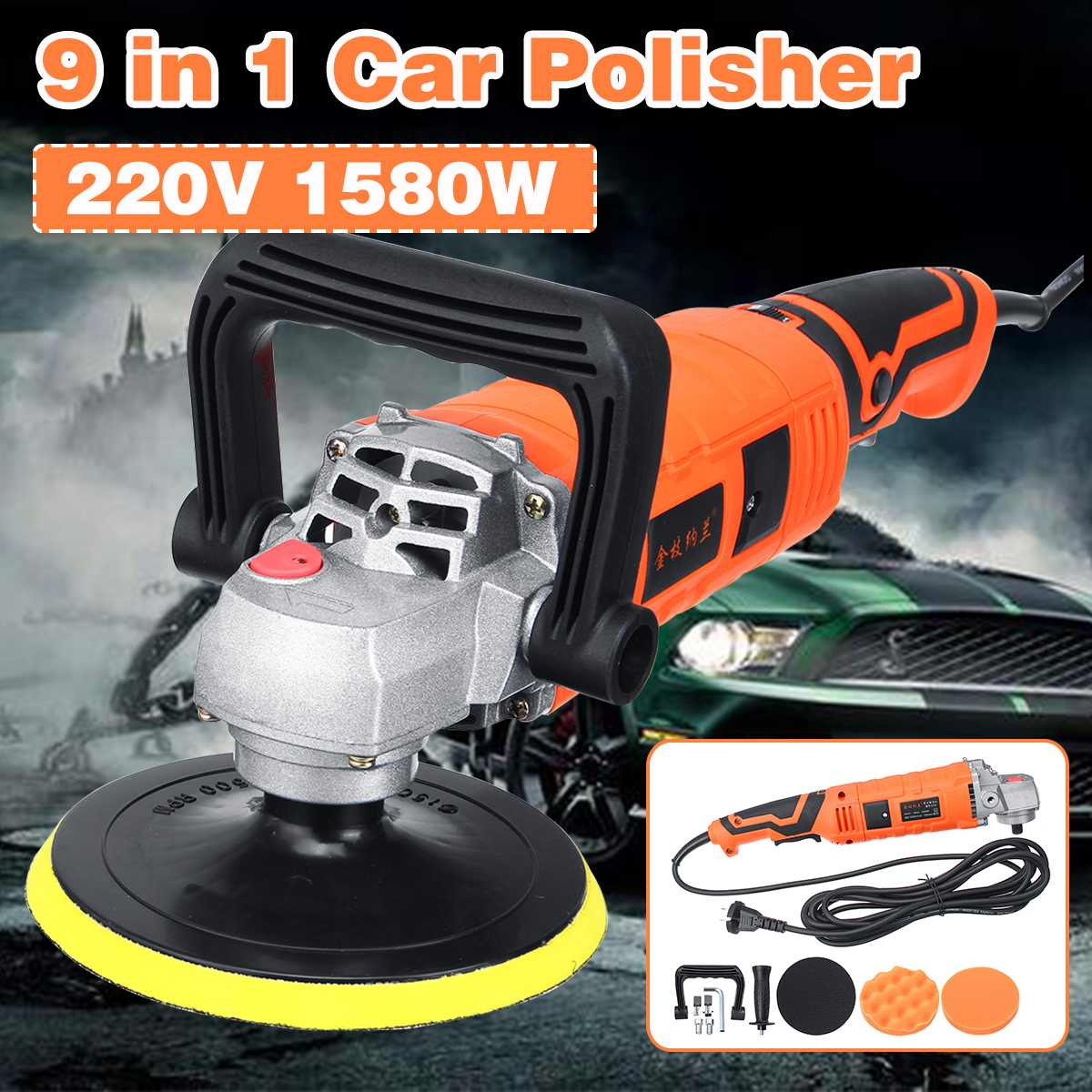 Car Polisher 1580W Variable Speed 3300rpm Car Paint Care Tool Polishing Machine Sander 220V 7Gear Speed Electric Floor PolisherCar Polisher 1580W Variable Speed 3300rpm Car Paint Care Tool Polishing Machine Sander 220V 7Gear Speed Electric Floor Polisher