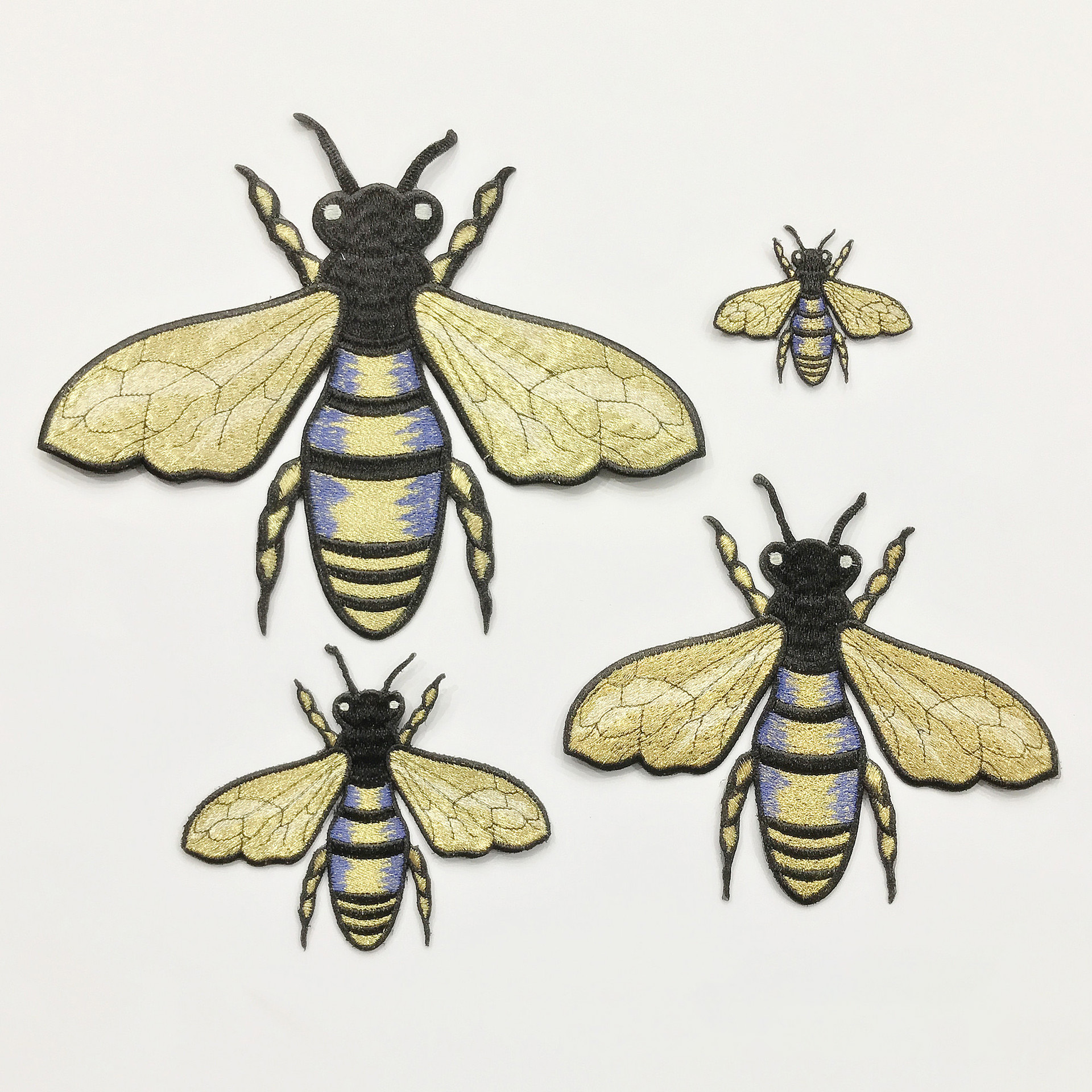Super Insect Series Gold Embroidery Garment Decoration Accessories Bee Full Embroidery Patch 4 Pcs Patch