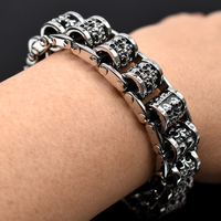 AMUMIU Punk Rock Skull Casting Chain Stainless Steel Bracelet Bangle Men's Jewelry For Biker Christmas Gifts HZB113