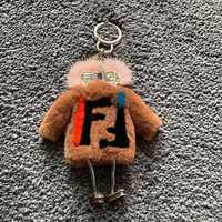 Fur robot mink hair monster Rex rabbit dress cute fur ball bag key chain car pendant ornaments fur keychain keychains luxury