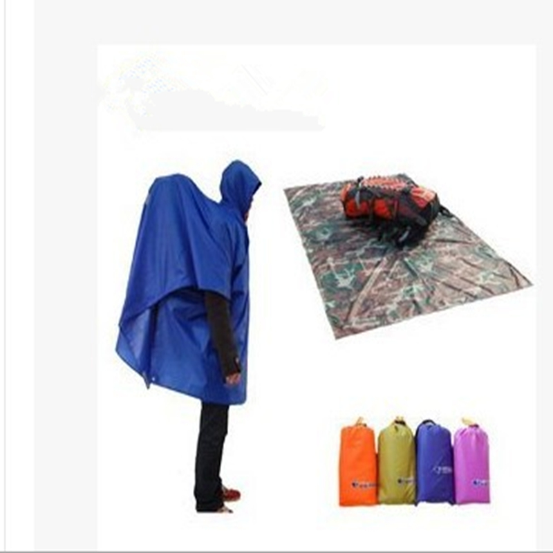 YINGTOUMAN 3 in 1 Travel Rain Poncho Backpack Rain Cover Waterproof Tent Outdoor Multifunctional Awning Climbing Camping Hiking