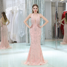 2018 Self-cultivation Crystal Pattern Evening Dress Mermaid