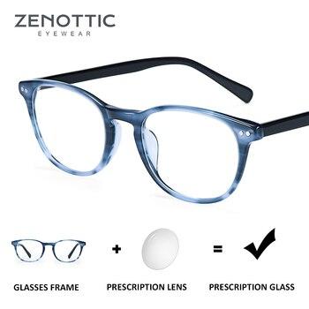 0d6a5da716 ZENOTTIC mujeres gafas de prescripción montura redonda acetato miopía lente  óptico hombres gafas de prescripción progresivo BT3024