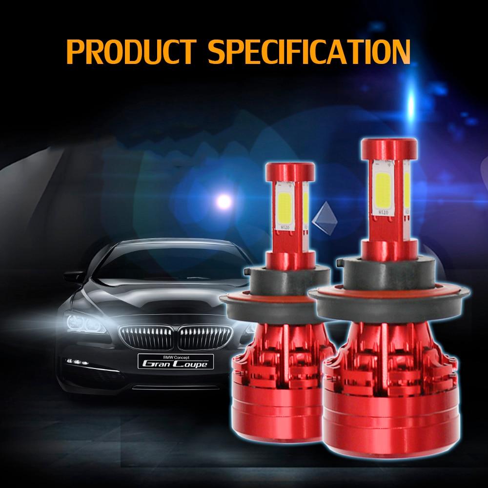 Car LED Headlight Kit 100W 28000LM Bright Headlight Bulb Lamp 4-side LED Light 6000K H13,H11,H7,H4,5202,9007,9005/HB3,9006Car LED Headlight Kit 100W 28000LM Bright Headlight Bulb Lamp 4-side LED Light 6000K H13,H11,H7,H4,5202,9007,9005/HB3,9006