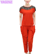 Women Summer clothes Middle aged lady 2 pieces set Large size chiffon shirt short sleeve T