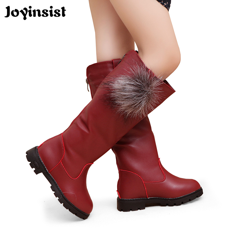 2018 Girls Boots High Quality Winter Children Boots Kids Shoes PU Leather Waterproof Rubber for Girl