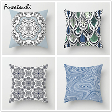 Fuwatacchi Plant Wave Throw Pillows Cushion Cover Flower Abstract Pattern Pillow for Home Sofa Chair Decorative 45*45cm