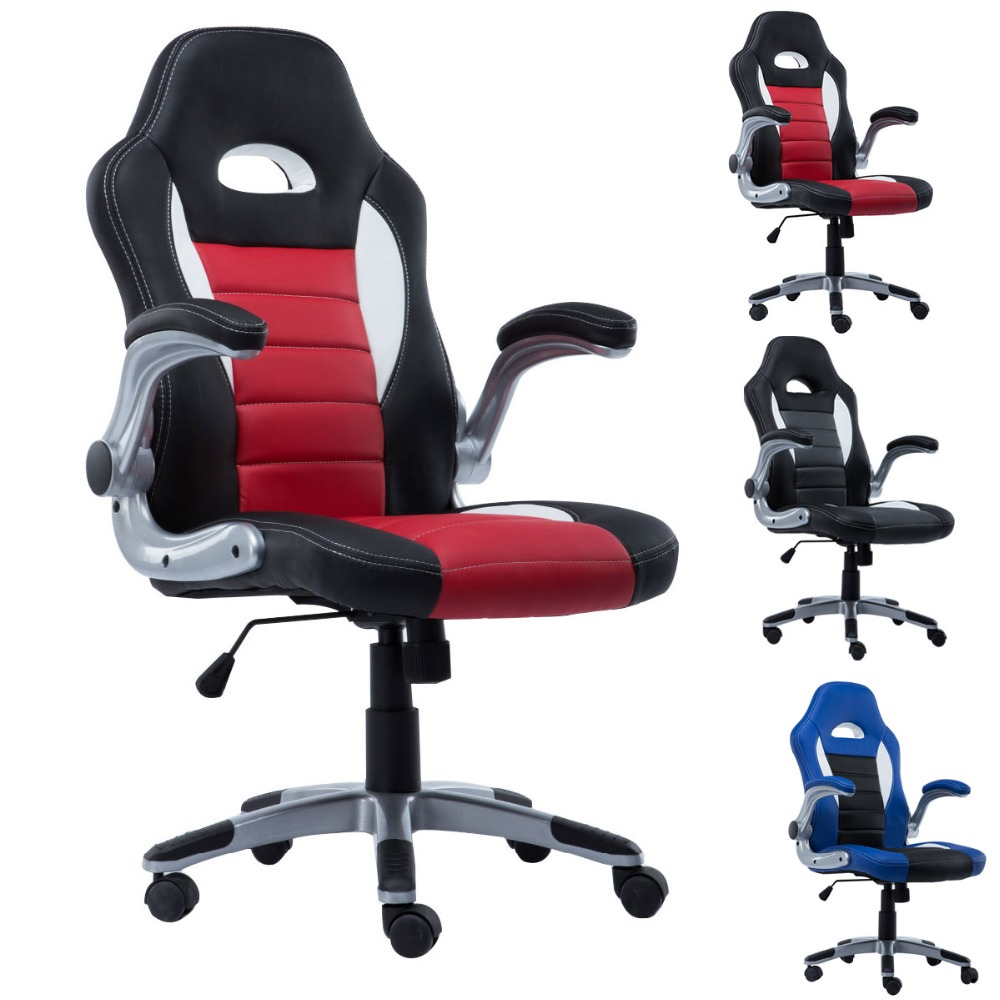 2016 New Hight quality 3 colors PU Leather High Back Office Chair Executive Task Ergonomic Computer Desk CB10070 240311 high quality pu leather computer chair stereo thicker cushion household office chair steel handrails