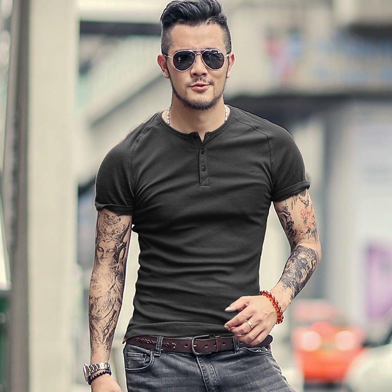 Mens T Shirt Slim Fit Crew Neck T-shirt Men Short Sleeve Shirt Casual T-shirt Tee Tops Bodybuilding T-shirt European Style
