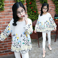 2017 New Design Spring Autumn Baby Kids Girls Cotton Shirt Cute School Girls Floral Print Full Sleeve White Blouses For 3-14Yrs