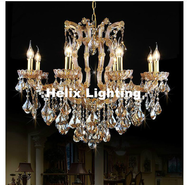 New Arrival Candle Chandelier Crystal Lighting Fixture Golden Modern Incandescent Luminaire Res Pendentes Ac Hotel