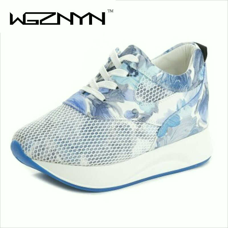 WGZNYN Women Flower Print Wedge Sneakers Lace Up Casual Shoes Wedges Shoes for Spring Summer Autumn Shoes Woman Basket Femme W9
