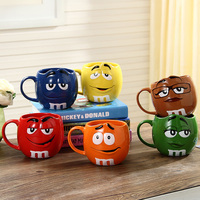 Cute MM Beans Coffe Milk Cupcup Ceramic Color Glaze of fruit juice tea cup saucer Water Tea bowl Oatmea water tool