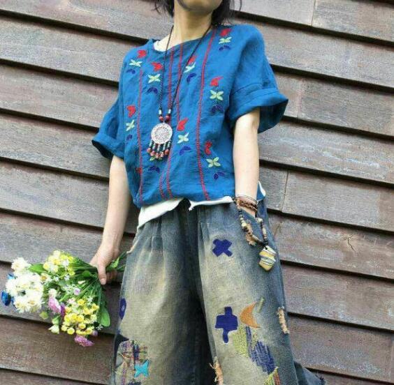 5 colores-rústico romántico floral bordado o-cuello de la camisa de manga corta