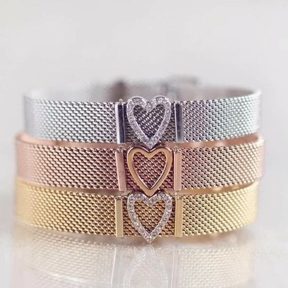 Vinnie Design Jewelry 18 New Mesh Keeper Bracelet with Heart Slide Charm Stainless Steel Wrap Bracelets for Women 7