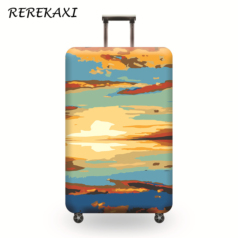 REREKAXI Suitcase Luggage Thickened Elastic Protective Cover,18-32 Inch Trolley Trunk Baggage Dust Case Cover,Travel Accessories