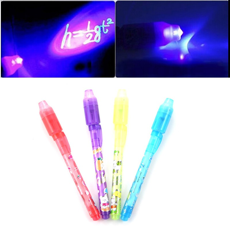 2017 New  Magic 2 In 1 UV Black Light Combo Creative Invisible Ink Pen Popular Random Color Drawing Tools Kids Children Baby