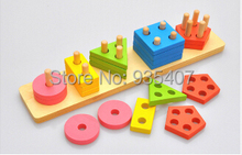 Wooden childrens intelligence toys color geometric shapes set column disassembly combination toy cognitive pairing