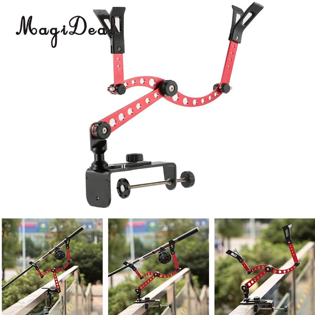 MagiDeal Adjustable Fishing Pole Rod Holder Clamp-On Boat Pole Kayak Rod Bracket Red for Flatable Fishing Boat Dinghy Accessory