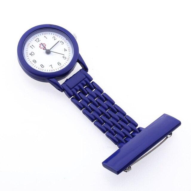 Dark Blue Quartz Movement Nurse Brooch Fob Tunic Pocket Metal Watch