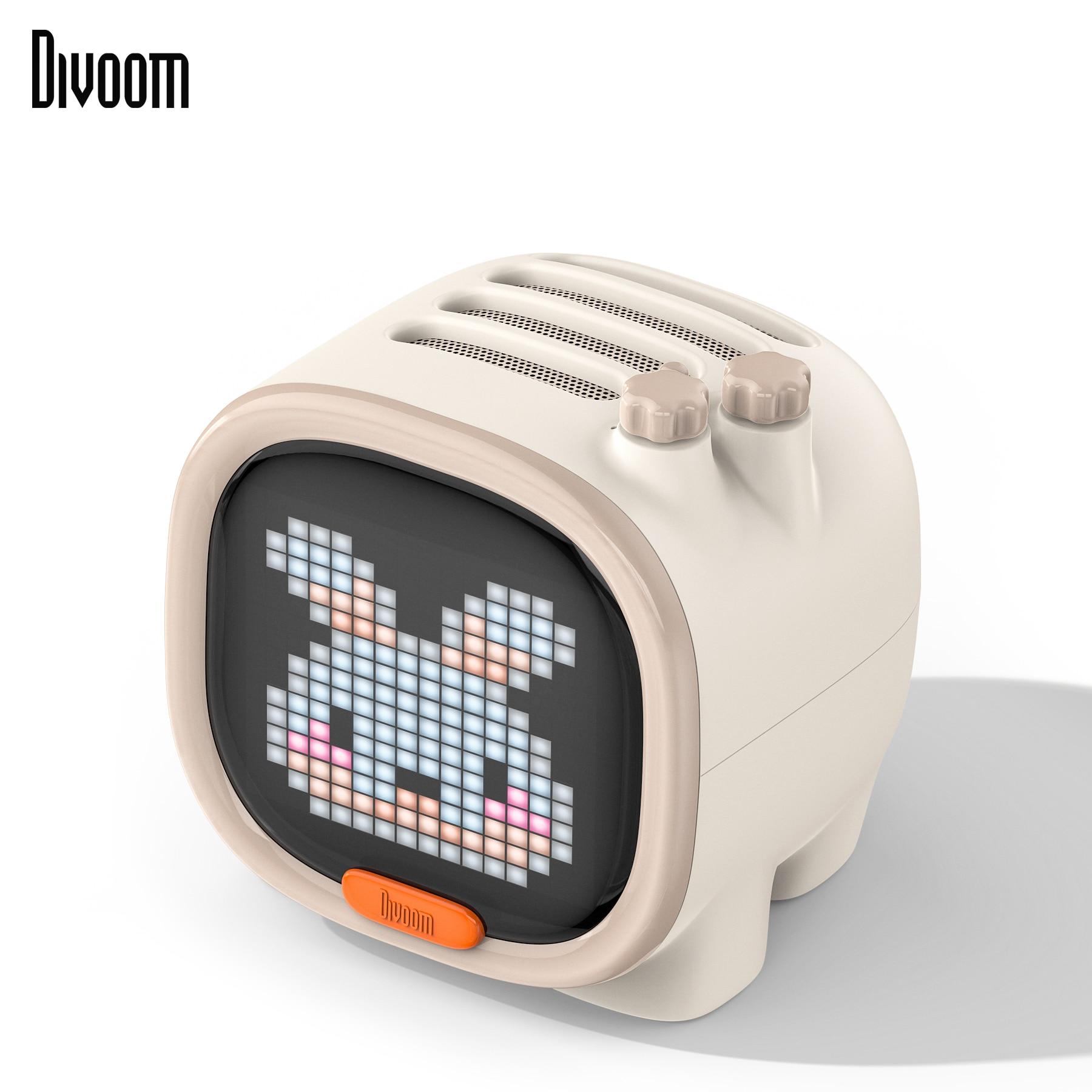 Divoom Timoo Pixel Art Bluetooth haut-parleur Portable sans fil haut-parleur horloge alarme mignon Gadget décoration de bureau avec écran LED