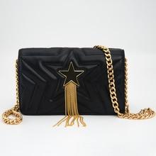 9f976ae326df Лидер продаж кожа Для женщин сумка с металлической звездой сумки с  украшением леди PU плеча Crossbody