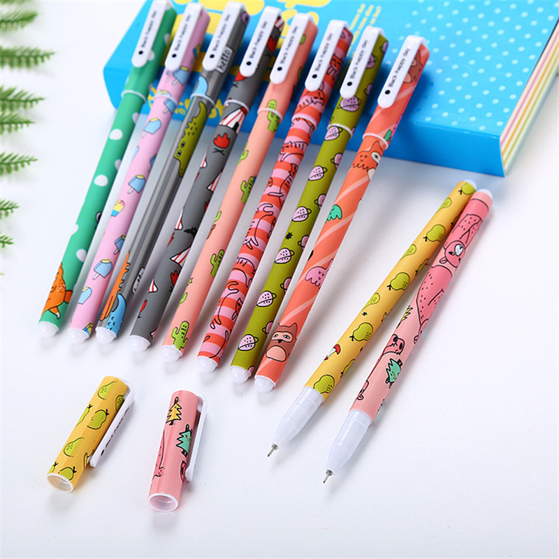 Купить с кэшбэком 10Pcs Kawaii Gel Pencils Set Cute 0.38mm Color Ink Pens for School Cartoon Animal Canetas Boys Girls Office Writing Stationery