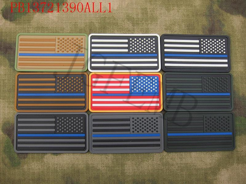 star left The thin blue line America flag Police SWAT Military Morale 3D  PVC Patch d45472f1f87
