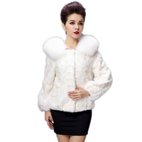 Luxury Winter Women's Natural Piece Mink Fur Coat Fox Fur Collar Lady Warm Overcoat Outerwear Coats VF5013