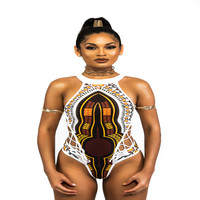 BJHOW African Print One Piece Swimwear2017 Halter African Print High Waist Bathingsuit Women Vintage Bandage One