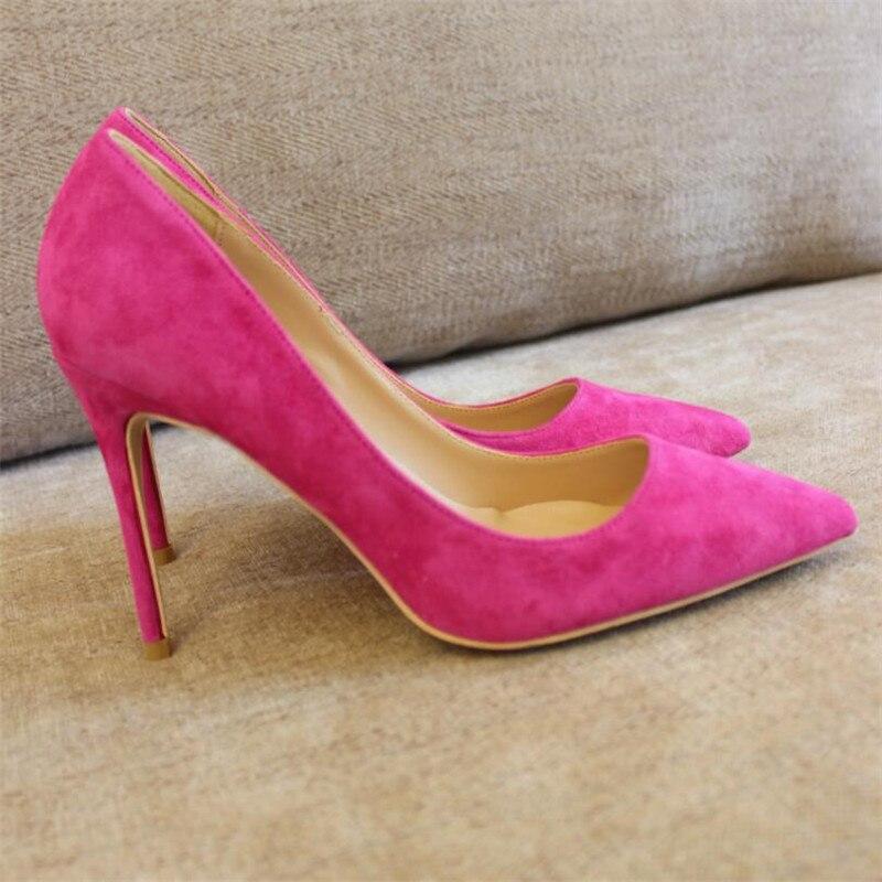 Livraison gratuite mode femmes escarpins Fuchsia daim véritable cuir pointu bout pointu talons hauts chaussures size33-43 12cm 10cm 8cm talon aiguille