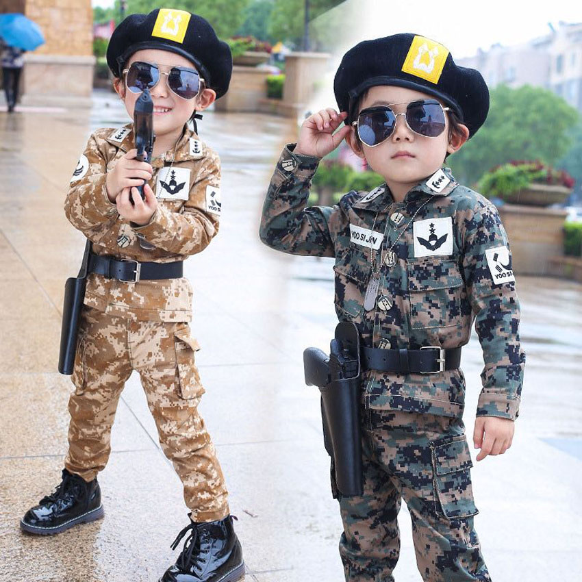 Kids Army Costumes Teenager Boys Cosplay Suit Toddler Girls Clothing Set 4PCs Kids Police Soldier Costume Boys Children Jackets 2018 summer girls dress kids cosplay costume teenager coats halloween nurse toddler boys doctor role play baby girls cloth suit